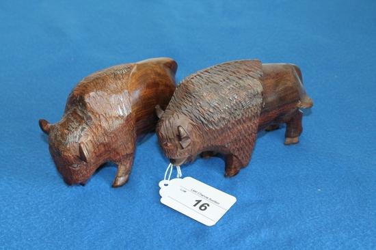 "Pair of 5"" Tall Ironwood Buffalo"