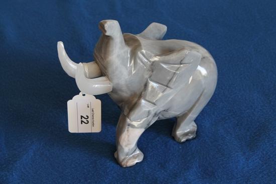 "Gray Granite Elephant 10"" Tall"