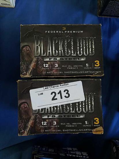 2X-25ct Federal Black Cloud 3in 3shot 12ga