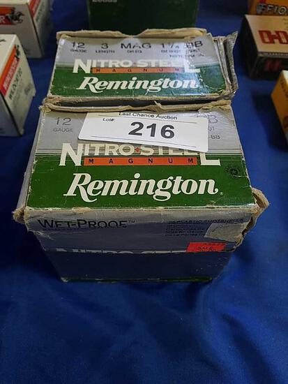 2X-25ct Remington 3in BB Nitro Steel 12ga