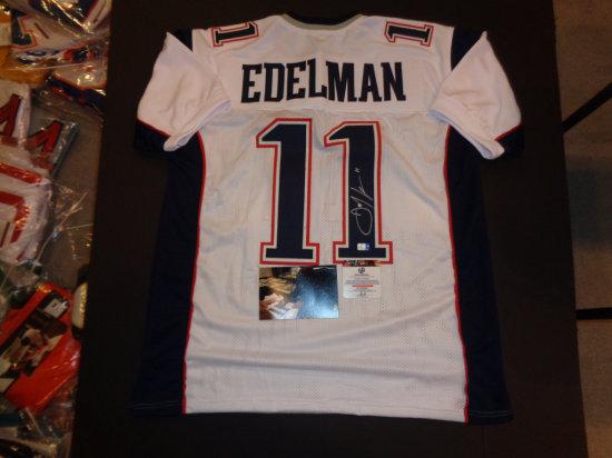 Julian Edelman Autographed Custom New England Patriots Style White Jersey Mens X Large w/GA coa