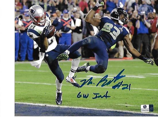 """Malcolm Butler New England Patriots Autographed 8x10  SB XLIX Photo Insc. """"GW INT"""" w/GA coa"""