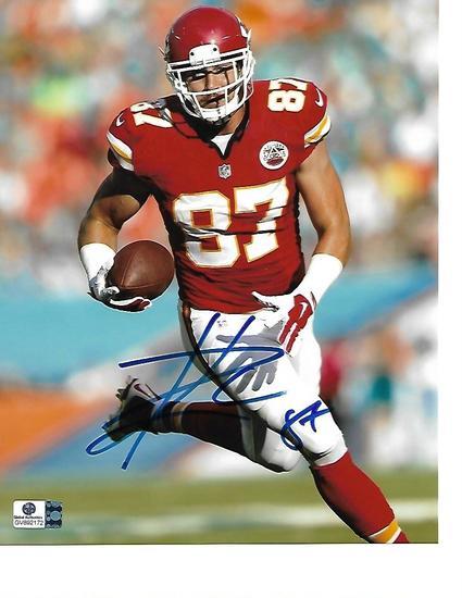 Travis Kelce Kansas City Chiefs Autographed 8x10 Stiff Arm Photo w/GA coa