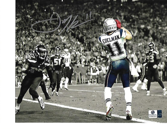 Julian Edelman New England Patriots Autographed 8x10 Spotlite SB Touchdown Photo w/GA coa