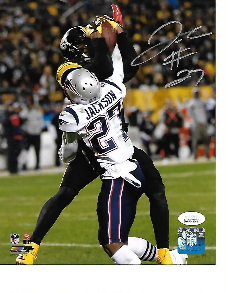J.C. Jackson New England Patriots Autographed 8x10 vs Steelers Photo w/JSA Witnessed coa