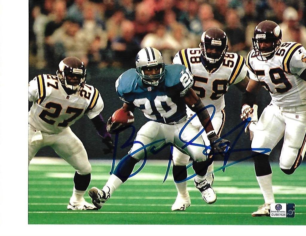 Barry Sanders Detroit Lions Autographed 8x10 Juking the Vikings Photo w/GA coa