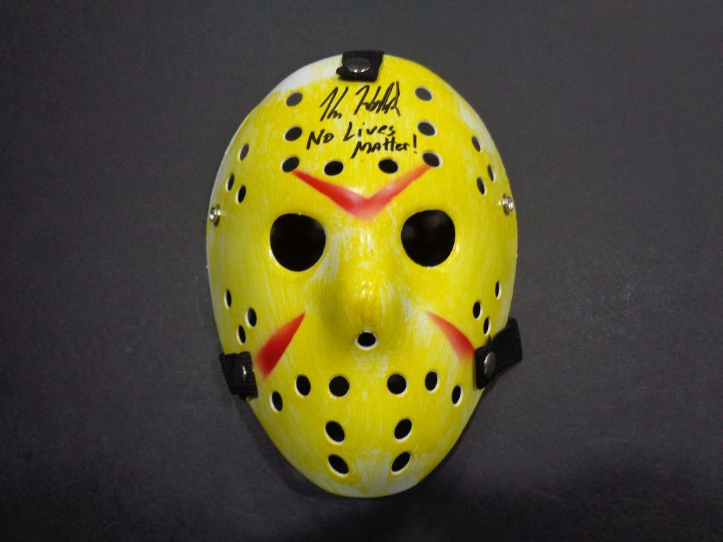 "Kane Hodder Friday the 13th (VII, VIII, GOES TO HELL, X) Autographed Mask Inscribed ""NO LIVES MATTER"