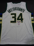 Giannis Antetokounmpo Milwaukee Bucks Custom Road White Style Jersey w/GA coa