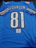 Calvin Johnson Detroit Lions Autographed Custom Home Blue Style Jersey w/GA coa