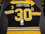 Gerry Cheevers Boston Bruins Autographed Custom Home Black Style Jersey w/JSA W coa