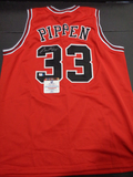 Scottie Pippen Chicago Bulls Autographed Custom Road Red Style Jersey w/GA coa
