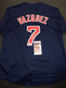 Christian Vazquez Boston Red Sox Autographed Custom Alternate Blue Jersey w/Full Time & JSA W coas