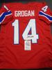 Steve Grogan New England Patriots Autographed Custom Throwback Home Red Style Jersey w/JSA W coa
