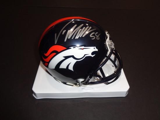 Von Miller Denver Broncos Autographed Riddell Mini Helmet w/GA coa