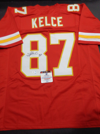 Travis Kelce Kansas City Chiefs Autographed Custom Red Style Jersey w/GA coa