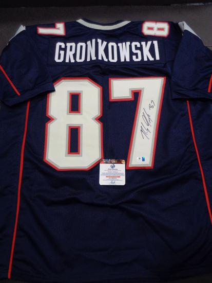 Rob Gronkowski New England Patriots Autographed Custom Blue Style Jersey w/GA coa