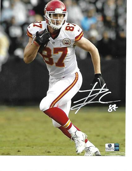 Travis Kelce Kansas City Chiefs Autographed 8x10 Photo w/GA coa White Auto