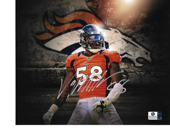 Von Miller Denver Broncos Autographed 8x10 Logo Photo w/ GA coa
