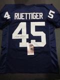 Rudy Ruettiger Notre Dame Autographed Custom Blue Jersey w/JSA W coa