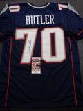 Adam Butler New England Patriots Autographed Custom Blue Jersey w/JSA W coa