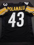 Troy Polamalu Pittsburgh Steelers Autographed Custom Black Style Jersey w/GA coa