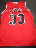 Scottie Pippen Chicago Bulls Autographed Custom Red Style Jersey w/GA coa