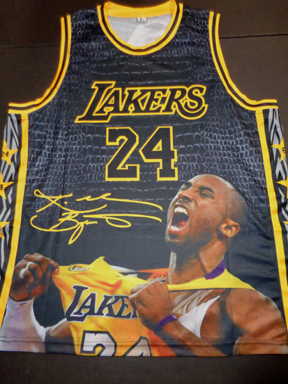 Kobe Bryant Los Angeles Lakers Custom Screen Printed Tribute T-Shirt (A-Shirt) 2 Extra Large