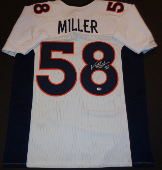 Von Miller Denver Broncos Autographed Custom White Football Style Jersey w/GA coa
