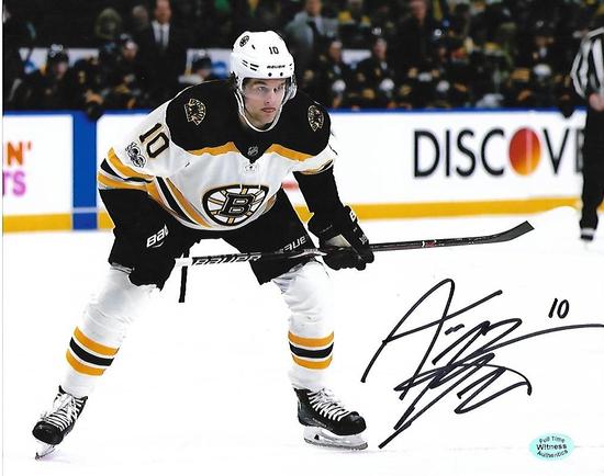 Anders Bjork Boston Bruins Autographed 8x10 Road White Photo w/Full Time coa