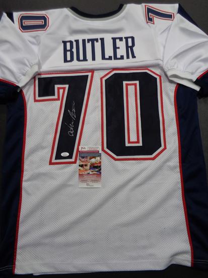 Adam Butler New England Patriots Autographed Custom White Football Style Jersey w/JSA W coa