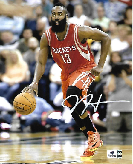 James Harden Houston Rockets Autographed 8x10 Dribbling Photo w/ GA coa