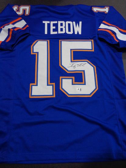 Tim Tebow Florida Gators Autographed Custom Blue Football Style Jersey w/GA coa