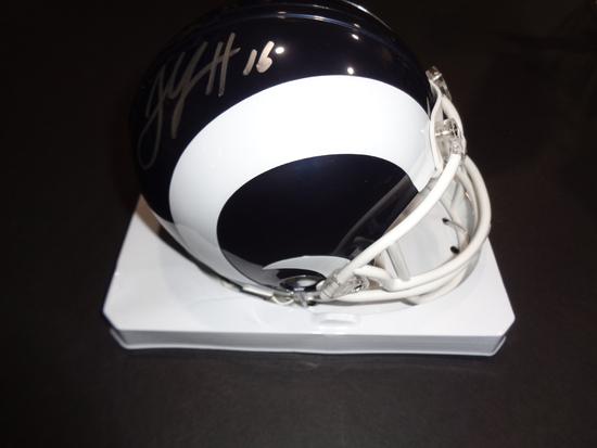 Jared Goff Los Angeles Rams Autographed Riddell Football Mini Helmet w/GA coa