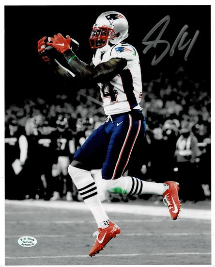 Mohamed Sanu Sr. New England Patriots Autographed 8x10 Spotlite Catch Photo w/Full Time coa