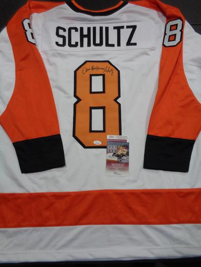 Dave Schultz Philadelphia Flyers Autographed Custom White Hockey Jersey  w/JSA W coa
