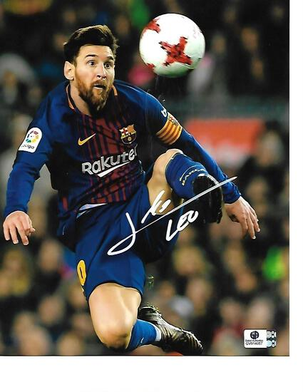 Lionel Messi F.C. Barcelona Autographed 8x10 Header Photo w/GA coa - RB4
