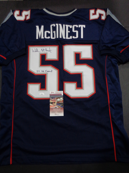 Willie McGinest New England Patriots Autographed Custom Blue Football Style Jersey w/JSA W coa