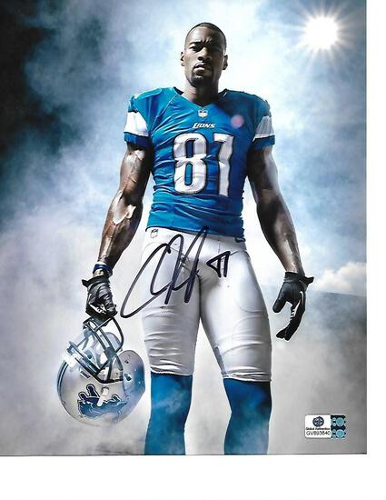 Calvin Johnson Detroit Lions Autographed 8x10 Grip Photo w/GA coa