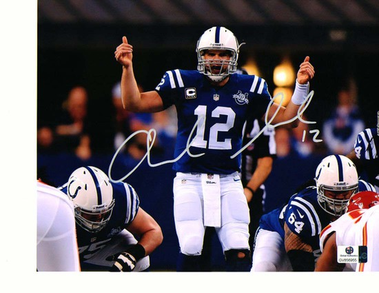 Andrew Luck Indanapolis Colts Autographed 8x10 At the Line Photo w/GA coa