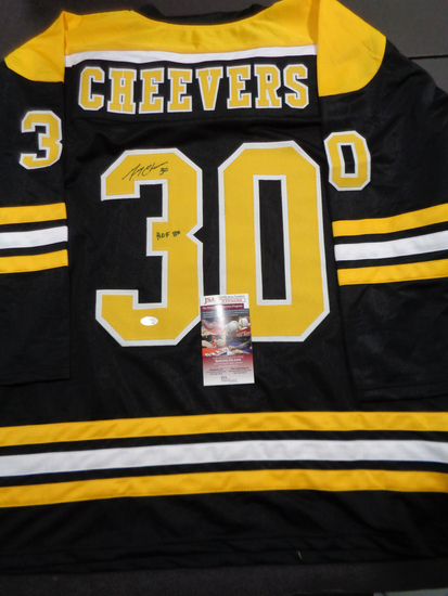 Gerry Cheevers Boston Bruins Autographed Custom Black Hockey Style Jersey w/JSA W coa