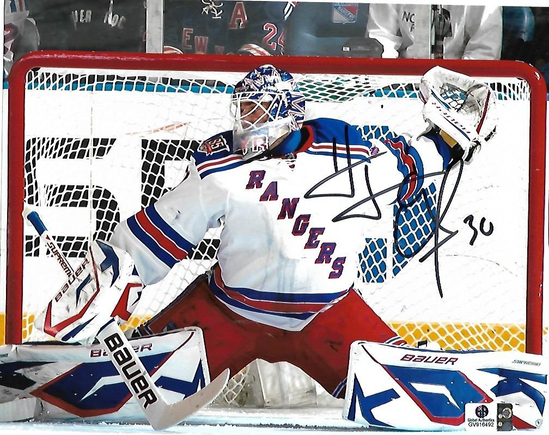 Henrik Lundqvist New York Rangers Autographed 8x10 In goal Photo w/ GA coa