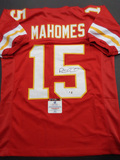 Patrick Mahomes Kansas City Chiefs Autographed Custom Red Football Style Jersey w/GA coa