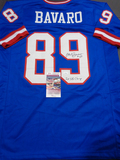 Mark Bavaro New York Giants Autographed & Inscribed Custom Blue Jersey w/JSA W coa
