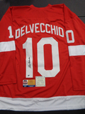 Alex Delvecchio Detroit Red Wings Autographed Custom Red Hockey w/DC Sports & Full Time coa