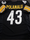 Troy Polamalu Pittsburgh Steelers Autographed Custom Black Football Style Jersey w/GA coa
