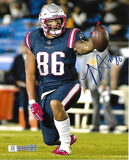 Devin Asiasi New England Patriots Autographed 8x10 Blue Photo w/Full Time coa