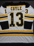 Charlie Coyle Boston Bruins Autographed Custom Road White Hockey Style Jersey w/JSA W coa