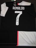 Christiano Ronaldo Juventas F.C. Autographed Adidas Black & White JEEP Soccer Jersey w/GA coa
