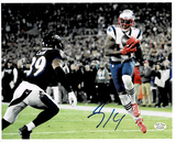 Mohamed Sanu Sr. New England Patriots Autographed 8x10 Spotlite vs Ravens Photo w/Full Time coa