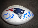Julian Edelman Rob Gronkowski N.E. Patriots Duel Signed White Panel Football w/GA coa